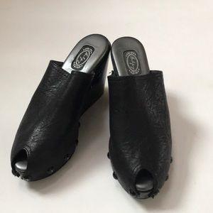 Salpy Handmade Leather Peep Toe Wedges  Mules